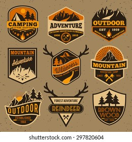 Set of summer camping outdoor adventure and mountain badge logo, emblem, label design