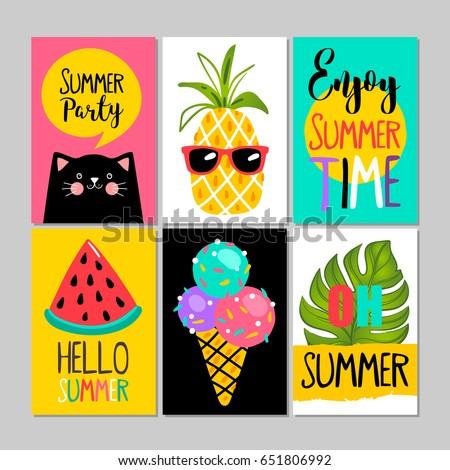 set summer cards posters greeting card stock vector royalty free