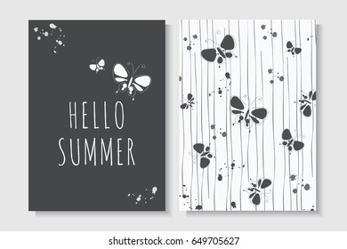 set cute summer card template colorful hand stock vector royalty