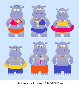 Set of summer cartoon hippos, vector illustration