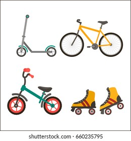 A set of summer children's modes of transport - a bicycle, scooter, rollers. Flat vector illustration isolated on white background