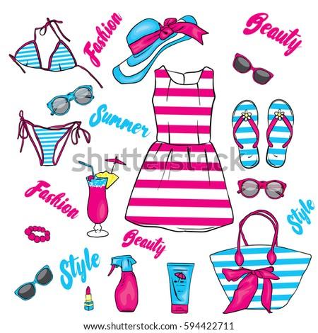 7336fbca83108 Set Summer Clothes Accessories Beach Bag Stock Vector (Royalty Free ...