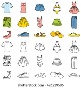 Set of summer clothing icons. Vector doodle illustration.