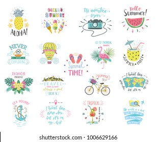 set of summer color hand lettering labels and stickers tropical emblems with fruits - Summer Pictures To Color