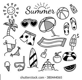 set of summer doodle isolated on white background