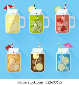 Set of summer drinks in jar.