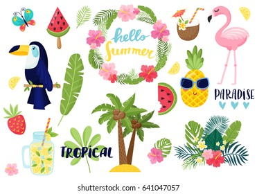 A set of summer elements: tropical flowers, flamingos, toucan, smoothies, palm leaves. Tropical collection of stickers for summer design, scrapbooking and postcards. Vector