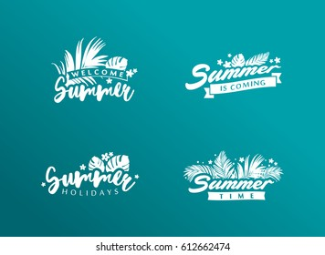 Set of summer Eps 10 vectors. Tropical paradise, sea, sunshine, weekend tour, beach vacation, label. Illustration for summer holiday, travel agency, restaurant and bar, menu, party