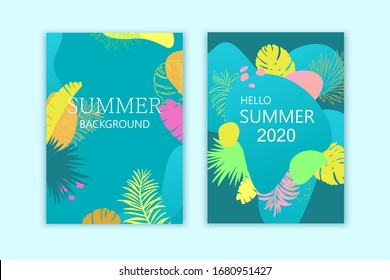 Set of summer exotic backgrounds, cards, brochures, covers. Bright colorful design, trendy style.