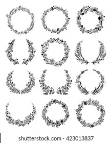 Set of summer flower wreaths isolated on white background for greeting card or wedding invitation. Vector EPS 10.