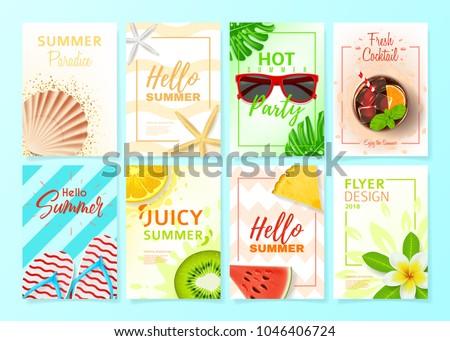 set summer flyer design templates vector stock vector royalty free
