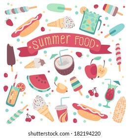 Set of summer food and drink