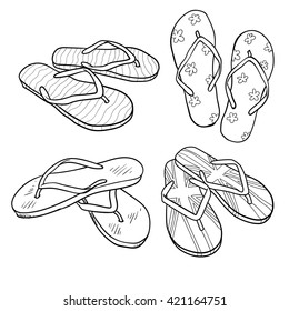 Set of summer footwear. doodle cartoon flip flops isolated on white