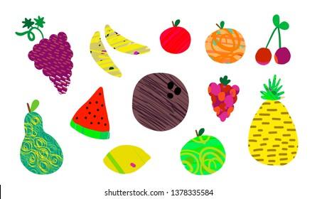 Set of summer fruits grape cocnut apple pear orange peach pineapple cherry raspberry bananas hand drawn textured
