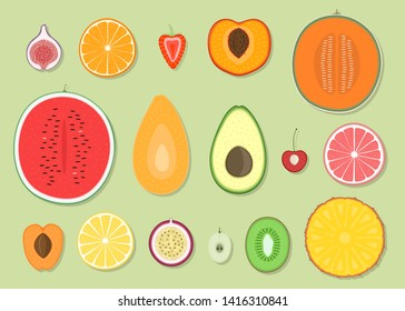 Set of summer fruits icons, tropical fruit, sweet food, colored and painting look