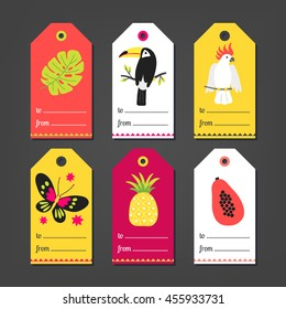 Set of summer Gift Tags with monstera leaf, toucan, cockatoo, butterfly, pineapple, papaya in Orange, White, Yellow, Pink and Green. Perfect for holiday greetings