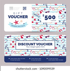 Set of summer gift vouchers for kids and baby goods .  Gift certificate for a holiday.  Vector flat illustration