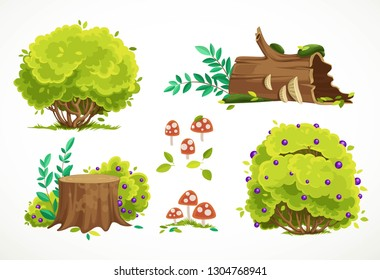Set of summer green bushes and stumps with fly agarics isolated on white background. Environment element