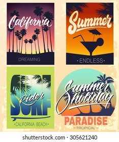 Set of summer hand lettered print for apparel t shirt and other uses, southern beach typographic art