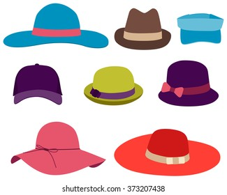 Set summer hats isolated on white background. Vector illustration