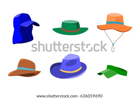 b01a789f367 Set of summer hats for men and women isolated on white background. Flat  style icons