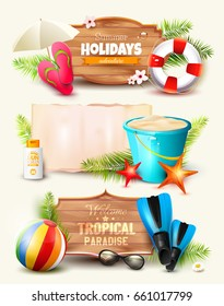 Set of Summer headers and banners with wooden and paper signs and beach accessories