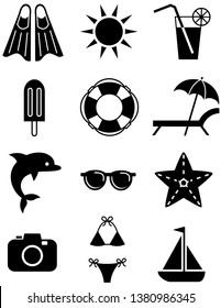 Set of summer holiday icons, including swimsuit, ice cream, sea star, cocktail, sunglasses, sun, photo camera, flippers, sailboat and others. Vector isolated on white background.