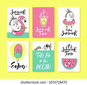 Set of summer holidays cards with unicorn