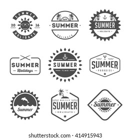 Set of summer holidays labels and badges. Retro style
