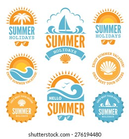 Set of  summer holidays labels with  sun, palm tree, sailing yacht, sunglasses, sea shell and waves in bright  blue and orange colors isolated on white background