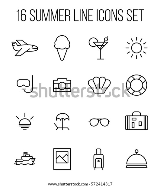 Set Summer Icons Modern Thin Line Stock Vector (Royalty Free