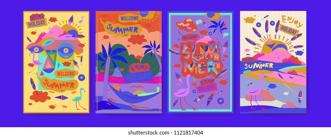 Set of summer illustration for poster, cover, and advertisement. Retro and vintage summer design illustration. Summer holiday background template in eps10.