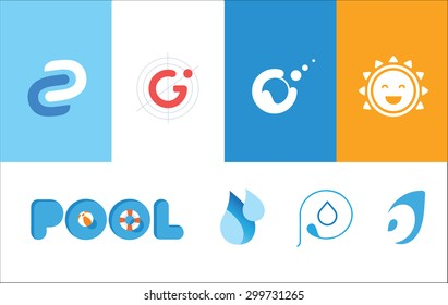 Set of summer logos