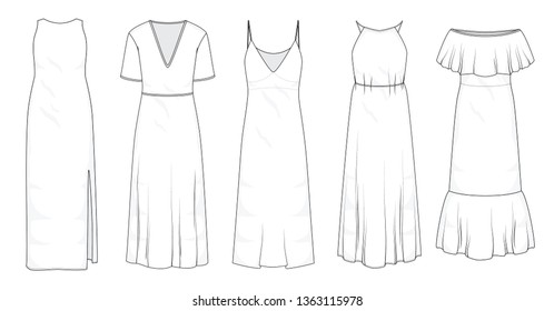 Set of summer long maxi dresses and fashion stylish dress collection template, fill in the blank apparal tops bottoms various styles