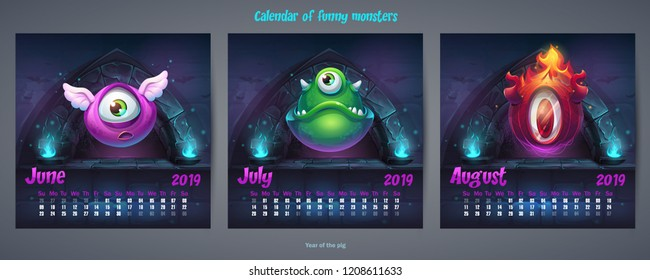 Set of summer months calendar 2019. For web, video games, user interface, design, print