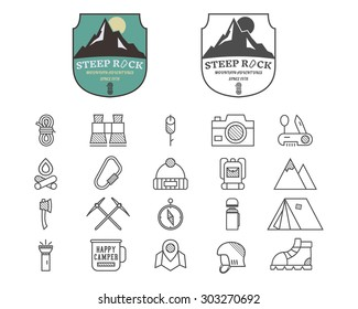 Set of Summer mountain camp badge, logo and label and line icon templates. Travel, hiking, climbing style. Outdoor. Best for adventure sites, travel blogs etc. On white background. Vector illustration