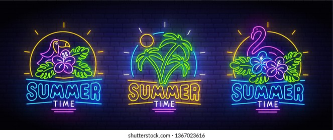 Set of summer neon icons. Summer time. Toucan, flamingo, sun and palm trees. Tropical neon pattern. Bright sign. Logo, emblem, light banner. Vector illustration.