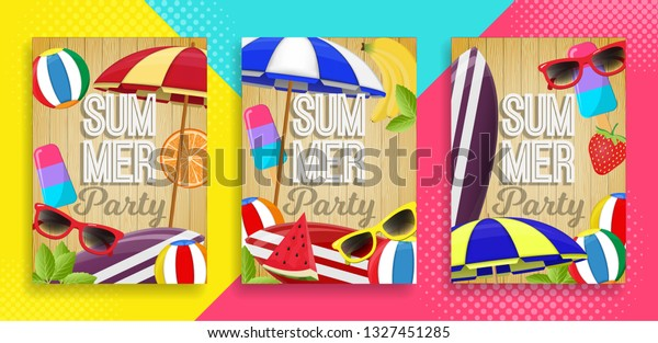 Set Summer Party Invitation Card Background Stock Vector