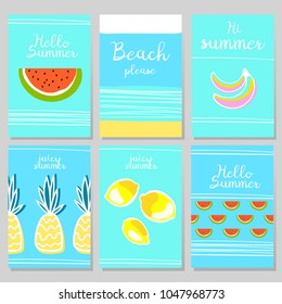 Set of summer poster. Summer cards with fruits and text. Cute summer postcards.