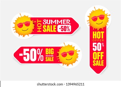 Set of summer pricetags with smiling sun in sunglasses.  Vector elements for discount tags, promotion  stickers, lables, flyer, banner and poster design.