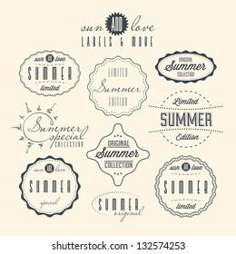 Set of summer related vintage labels.