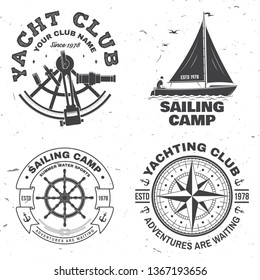 Set of summer sailing camp badge. Vector. Concept for shirt, print, stamp or tee. Vintage typography design with black sea anchors, hand wheel, compass and sextant silhouette. Best Sporting Activity
