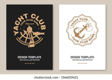 Set of summer sailing camp badge. Vector illustration Flyer, brochure, banner, poster design with sea anchors, hand wheel and sextant silhouette. Ocean adventure sporting activity