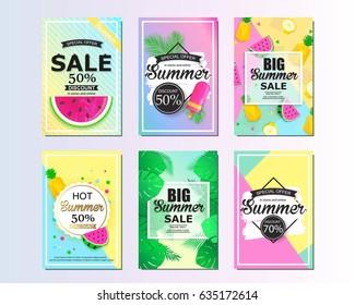 Set of summer sale background design for banner, flyer, wallpaper. Promotional discount shop materials, poster, brochure, voucher discount.