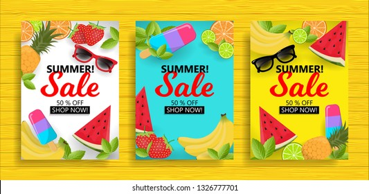 Set of summer sale background layout banners, special offer and discount, editable eps 10 vector illustration template