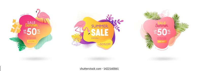 Set of Summer sale banner template. Liquid abstract bubble with tropic flowers, flamingo. Tropical background and backdrop, Promo badge for seasonal offer, promotion, advertising. Vector illustration