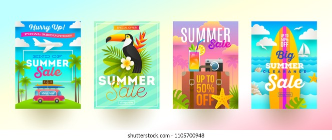 Set of summer sale promotion banners. Vacation, holidays and travel colorful bright background. Poster or newsletter design. Vector illustration.