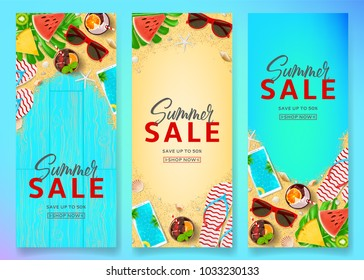 Set of summer sale vertical banners. Top view on Summer compositions on sea sand and wooden texture. Vector illustration with special discount offer. Templates of invitation, brochure or voucher.