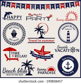 Set of summer and sea labels, logos and emblems. Collection of elements for design and page decoration. Vector illustration.
