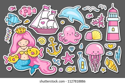 Set of summer sea stickers. Mermaid, fish, jellyfish, dolphin, lighthouse, anchor, ship, sails, octopus, coral reef. Cartoon patches, badges, pins, prints for kids. Doodle style.